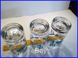 6 Mid Century Royal China Blue Heaven 5.625 Mod Atomic Glasses Highball Blue