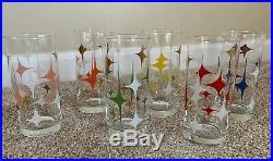 6 North Star Mid Century Modern Atomic Starburst Retro Drinking Glasses