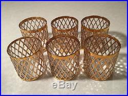 6 Vintage Mid-Century IMPERIAL GLASS SEKAI GOLD TRELLIS Cocktail Rocks Glasses