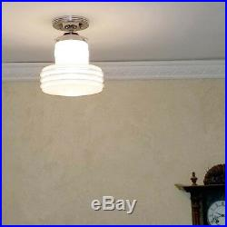 799 Vintage Ceiling Light Mid-Century Lamp Fixture Glass bath hall porch 1 of 3