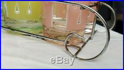 8 Fred Press Signed Glasses with Carrier Vintage Rare Mid-Century Raindrops
