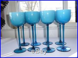8 MID Century Carlo Moretti Italian Turquoise Blue Cased Tall Wine Glass Goblets