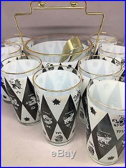 8 Mid Century Black White Zodiac Gold Drinking Glasses & Ice Bucket Set Vintage