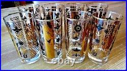 8 Rare Vintage 50's Gold Black Highball Glasses Tumblers MID Century Mad Men