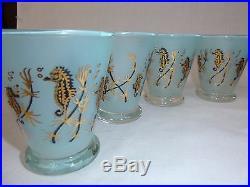 8 Vtg Mid Century Aqua Blue Frosted Bar Cordial Glasses Black Gold Seahorses
