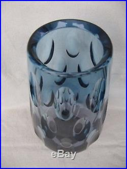 ART GLASS VASE WMF ERICH JACHMANN OLIVENSCHLIFF PINK HELLBLAU 2,2 kg MID CENTURY