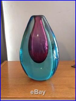 Amazing Mid Century Murano'Sommerso' Glass Vase Flávio Poli