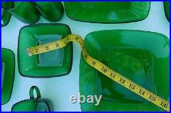 Anchor Hocking MID Century Green Depression Glass Dish Set Square 31 Pieces