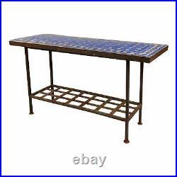 Antique Spanish Mosaic Blue Tile Top & Wrought Iron Garden Console table