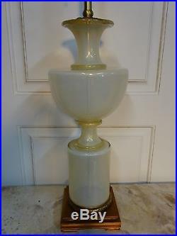 Archimede Seguso Murano Art Glass Marbro MID Century Italian Gold Lamp Grecian