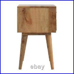 Art Deco Inspired Bone Inlay Geometric Bedside Table Artisan Made Solid Wood