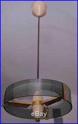 Awesome Mid Century Modern Italian Brass&Glass Chandelier Fontana Arte style