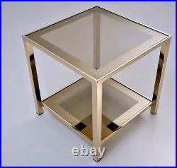 BELGO Chrome Vintage mid century Coffee side table gold gilt smoked glass n2