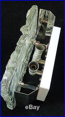 BIG J. T. KALMAR AUSTRIA midcentury ice glass WALL LAMP 60´s sconce fontana arte