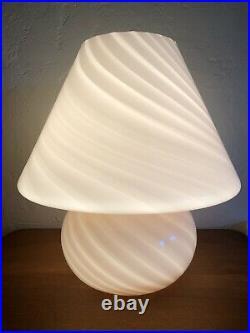 BIG Murano Italy Vetri Mid Century Modern Pink Swirl Glass Mushroom Table Lamp