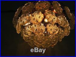 BRUTALIST GLASS FLUSHMOUNT CHANDELIER 60s 70s SPACE AGE MID CENTURY DESIGN
