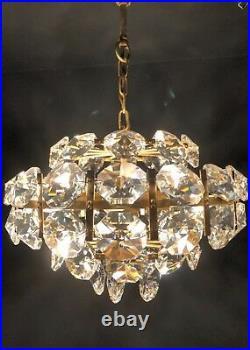 Bakalowits Gilded Brass Cystal Glass Chandelier Mid Century Modern 1960s