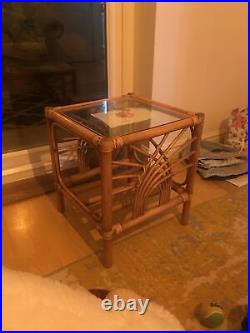 Bamboo Rattan wicker glass coffee table mid century Vintage Retro 60 70 oriental