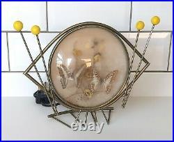 Beautiful 1950s Butterfly Silhouette Lamp, Mid Century, Light, Metal, Glass, Eye