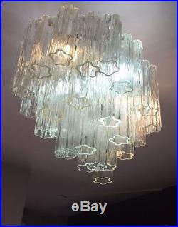 Big Oval Chandelier VENINI Tronchi Lampadario Glass Murano Mid-Century VISTOSI