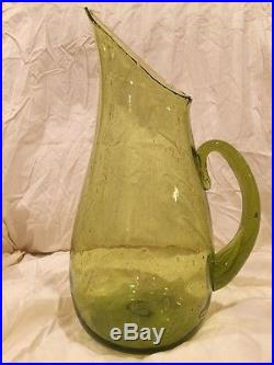 Blenko #939 Pitcher Chartreuse Mid Century Modern Glass Bubble Rare Glass