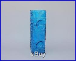 Blenko Art Glass 12 1/2 Tall Blue Vase Mid Century Modern MCM