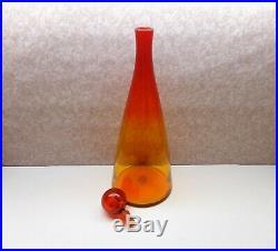 Blenko Decanter Mid-Century Tangerine Amberina Decanter WithStopper 19 Tall Exc