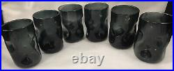 Blenko Glass Tumblers Set of 6 Charcoal 418s Indented Pinched Mid Century Modern