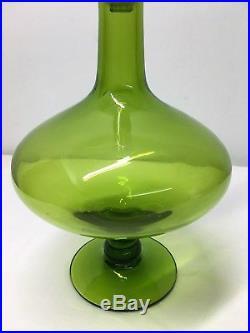 Blenko Husted Green Teardrop Decanter. Mid Century Modern Art Glass