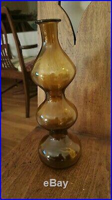Blenko Vintage Mid Century Modern 13 inch Gurgle Bottle Wayne Husted amber