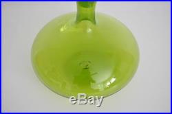 Blenko Vtg Mid Century Modern Green Air Twist Glass Decanter Stopper Myers 6716