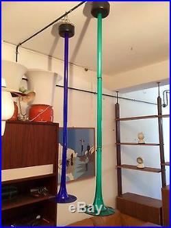 Blu VENINI SIGNED Ceiling Lamp mid century Modern Design 50s Murano glass