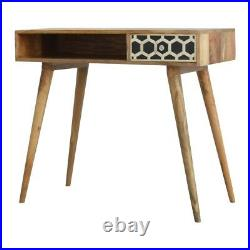 Bone Inlay Writing Desk With Mid Century Style Legs Made From 100% Solid Wood