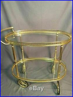 Brass Glass Vintage Tea Cart Mid Century Modern Drink Serving Hollywood Regency