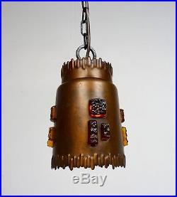 Brutalist Design Vintage Ceiling Lamp MID Century Chandelier Copper & Glass