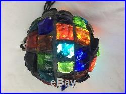 Brutalist Pendant Light Circa 1960, Multicolor Glass, Midcentury