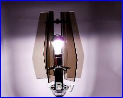 Brutalist Table Lamp Vintage Italian Mid Century Modernist 60s Cut Glass Chrome