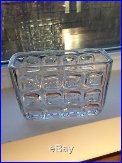 C1963 MID Century Czech Sklo Union Libochovice Glass Wide Block Vase F. Vizner