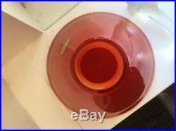 Carl Erickson Art Glass Rare Orange Vase Stopper Label MID Century Modern Blenko