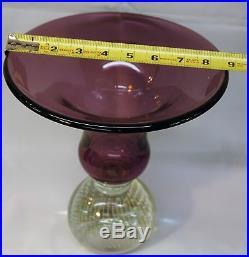 Carl Erickson Large Amethyst Vase Mid-century Modern Controlled Bubble Base