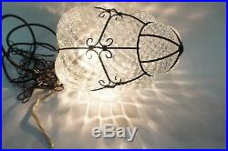 Caged Glass Ceiling Pendant Light Mid century Hanging Lamp Hollywood