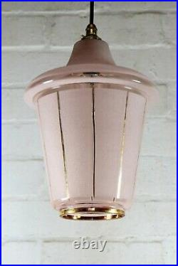 Ceiling Light Original Atomic Mid 20th Century Moulded Pink & Gold Glass Pendant