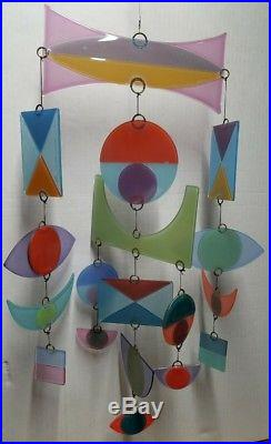 Classic M. Higgins Art Glass Mobile, 18 Pieces, Signed, MID Century Modern Style