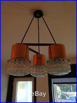 Copper Teak Glass Vintage Light Fitting Mid Century/Retro 60/70s