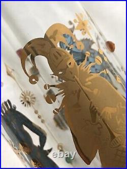 Culver 22k gold Harlequin Jester Decanter Mardi Gras Mid Century Barware