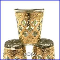 Culver Valencia Shot Glass Set Of 6 22K Gold With Carrier Caddy Mid Century