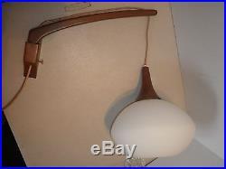 Danish Hanging Atomic White Glass Lamp Teak Wall Mounted MID Century Modern