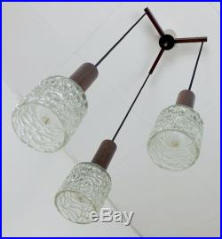 Danish mid century 3-light PENDANT LIGHT rosewood glass chrome cascade lamp