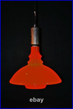 Danish mid-century louis Poulsen Holmegaard teak & opaline glass pendant light