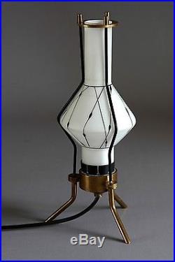 Desk Lamp Italy Tischlampe mit Grafik 1950 Glass 50er Midcentury